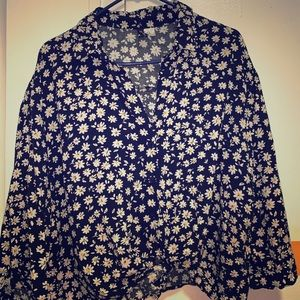 H&M Ditsy Button Down Tie Blouse XL
